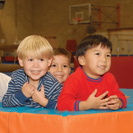 Preschool boys in gymnastics class